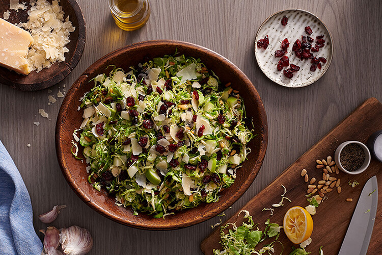 Cranberry and Apple Shaved Brussels Sprouts Salad