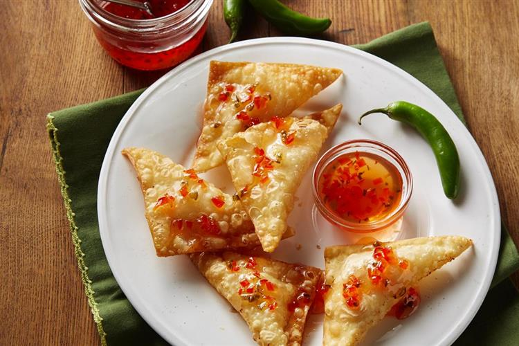 Ruby Red Pepper Jelly Goat Cheese Rangoons