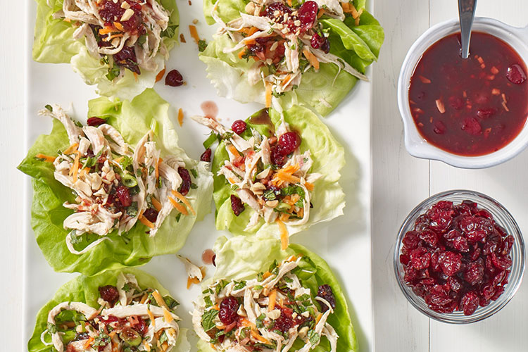 Triple Cranberry Chicken Lettuce Wraps