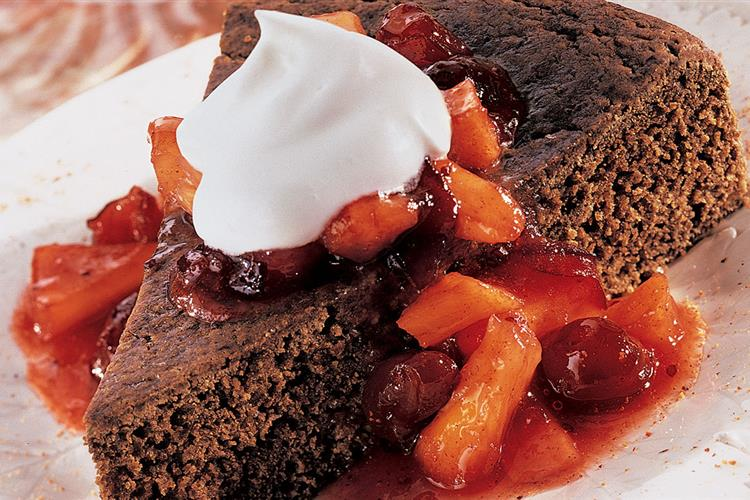 Gingerbread with Warm Cranberry Compote