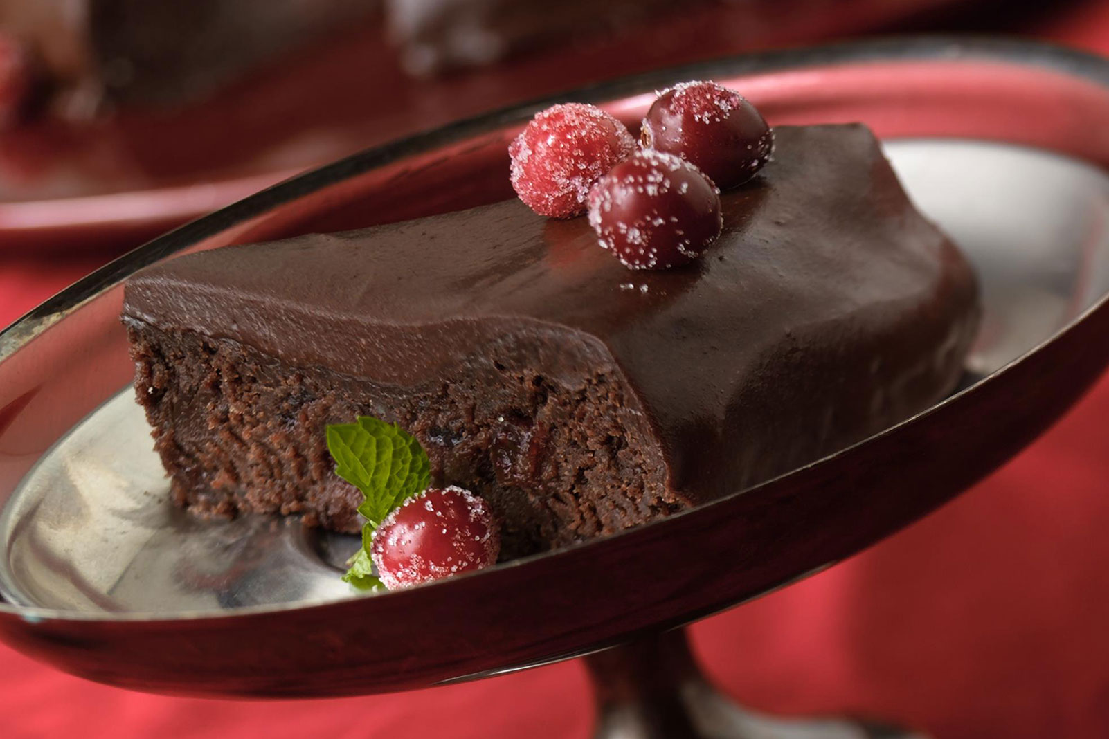 Outrageous Chocolate Cranberry Fudge Cake