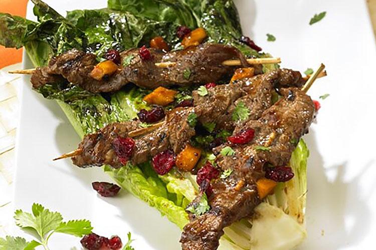 Cran-ango™ Beef Yakitori with Grilled Romaine Halves