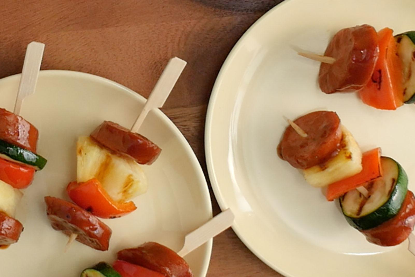 Cranberry Pineapple Glazed Kielbasa Bites