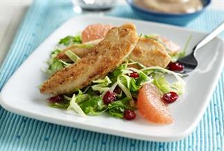 Ruby-Kissed Chicken Fingers with Ruby Cranberry Slaw