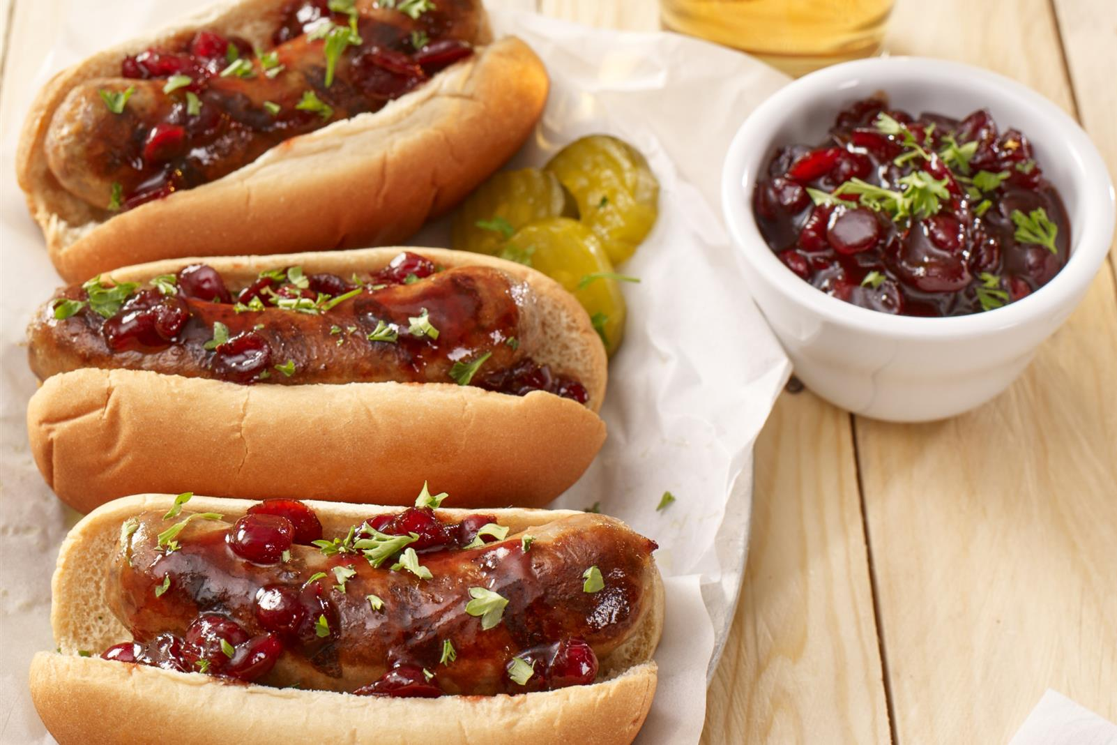 Sausages with Chunky Cranberry-Beer Topping
