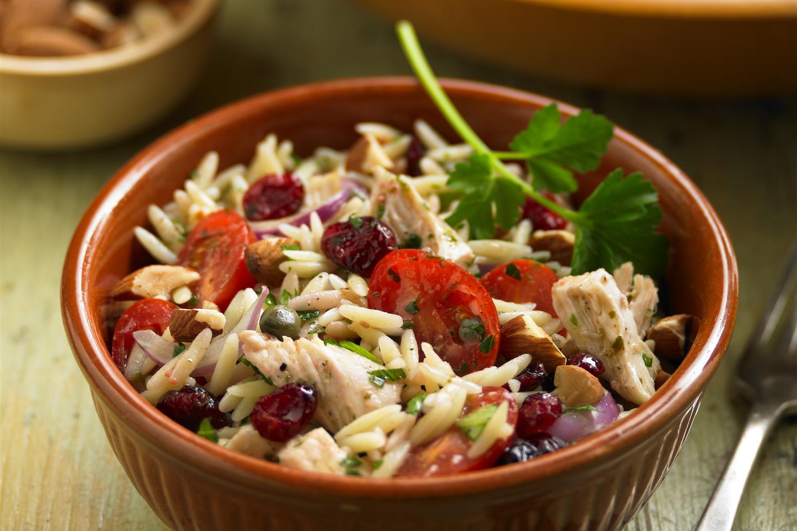 Orzo, Chicken and Triple Basil Salad